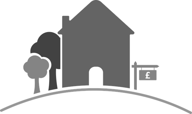 nákres,dům, stromy, cedule