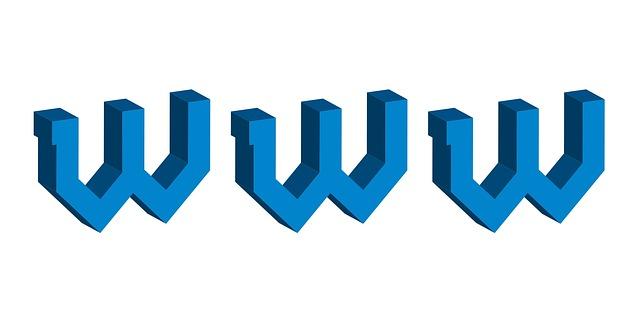 velké modré dvojité W znázorňující začátek internetové adresy